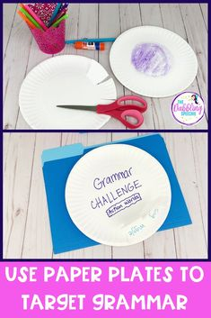 Use Paper Plates to Target Grammar - EBP aligned! Use paper plates in your next speech therapy session to target all sorts of grammar goals. These grammar speech therapy activities are EBP aligned and kid approved! #slpeeps #schoolslp #speechies #ashaigers #dabblingslp #speechtherapy #sped #eslteacher #grammarintervention #pedslp #pediatricslp #grammar #slp #cfyslp #slpgraduate #instaslp #preschoolslp #elementaryslp #languagetherapy