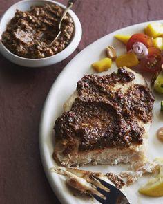 Roast chicken breasts with roasted red pepper-walnut sauce (chicken muhumurra)