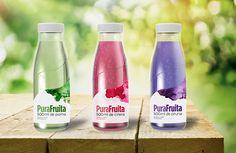 PuraFruita, organic juice, packaging #purafruita #organic #juice #leaf #label #packaging #watercolors #bottle #productdesign #graphicdesign ------- ©Corina Saccal, Barcelona 2014.