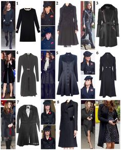 Kate's collection of black coats: 1. Goat 'Washington' Coat, worn once in New York 2014 - £690/$916 2. Diane von Furstenberg 'Lio' Coat, worn to 2011 and 2012's Remembrance Sunday services 3. Temperley 'Odele' Coat, never worn to an official engagement but seen on visits to town - £1,950/$2,589 4. Libelula 'Dulwich' Coat, worn to friend Harry Aubrey-Fletcher's wedding in early 2011 - £351/$466 5. Temperley 'Noa' Coat, worn to the 2013 Remembrance Sunday service as well as the ANZAC dawn…