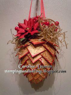 pincone Christmas ornament by Caroline Duncan~ www.stampingsandinklings.blogspot.com November Hop with Heartfelt Creations Alumni Team