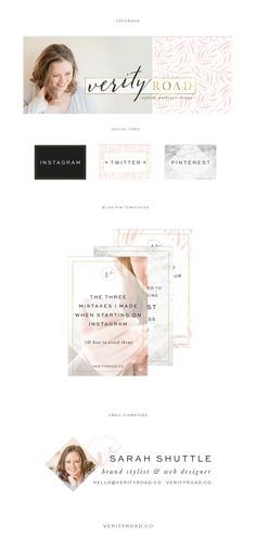 social media branding for verity road, luxury brand styling and web design for female entrepreneurs. feminine branding Inspiration board of typography, script font, color palette, calligraphy, sans serif, black, latte, blush, pink, gold, color palette, pattern, floral inspiration, watercolor, geometric pattern, business owner. instagram, pinterest, blog pin graphic, facebook cover. See more for brand board, brand style guide, mood board and web design.