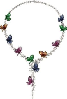 Diamond, Multi-Color Sapphire, Ruby, Tsavorite Garnet, White Gold Necklace