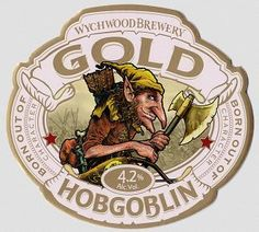 WYCHWOOD BREWERY'S HOBGOBLIN GOLD  - is the latest beer carrying the little fella's moniker, and while Gold might be lighter in colour, it's definitely no lightweight. A combination of six hop varieties & an infusion of wheat and malted barley has resulted in the perfect golden beer – with a huge hop punch.