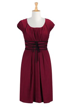 Oxblood Red Knit Dresses, Ribbon Tied Dresses Shop womens fashion clothes | Dresses | Maxi dresses, party dresses, casual dresses | eShakti....
