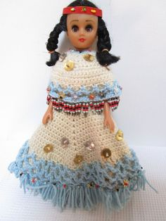 Doll Beaded Knit Blue Dress Red Headband Safety Pins Black Hair Tribal Pow Wow