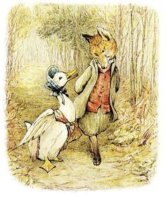 Beatrix Potter's original illustration for The Tale of Jemima Puddle-duck. The encounter between the gentleman fox and Jemima Puddle-duck is infused with sexual threat. Tales Of Beatrix Potter, Beatrix Potter Figurines, Coelho Peter, Beatrix Potter Illustrations, Beatrice Potter, Peter Rabbit And Friends, Motifs Animal, Book Illustration, Illustrators