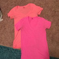 Neon Victoria Secret V-necks Worn once* 2 of them for $15 PINK Victoria's Secret Tops Tees - Short Sleeve
