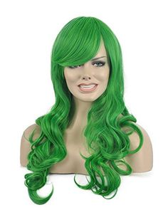 Diy-Wig New Popular Green Long Curly Oblique Bangs Party… Green Wig 4e8aa23091ef