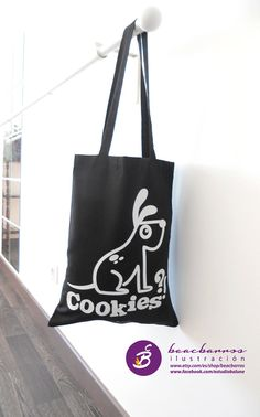 Black tote dog illustrated black fabric bag dog by beacbarros