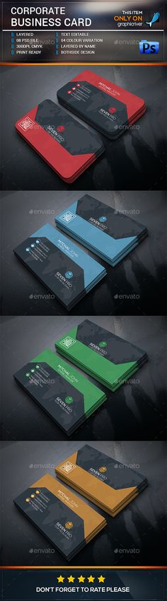 Corporate Business Card Template PSD. Download here: http://graphicriver.net/item/corporate-business-card/15870827?ref=ksioks