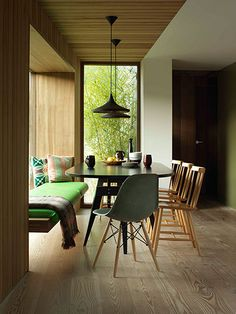 Homes - Welsh House: interior of dining area with table and chairs Open Plan Kitchen Dining, Interior Design, Home, Interior, Long House, Cafe Chairs, Contemporary Leather Chair, Comfy Living Room, Accent Chairs For Living Room