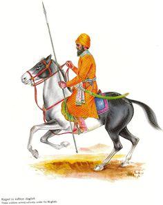 Vibrant Painting of Singh on Horse by Unknown Artist : Sikh Farmer Painting, Guru Tegh Bahadur, Warriors Wallpaper, Macbook Wallpaper, Classic Paintings, Indian Army, Alien Logo, Vibrant, Horses