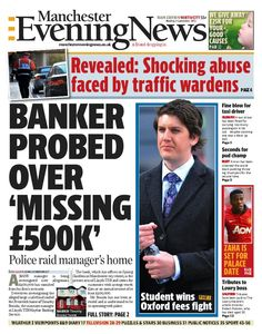 Front page of Manchester Evening News north edition, Monday, September 9