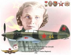 """USSR, WWII, Hero of the Soviet Union (decoration) Senior Lieutenant Lydia Vladimirovna Litvyak, """"Night Witches"""". (Russian-Jewish, 1921-1943). She was the first female fighter pilot to shoot down an enemy plane, the first of two female fighter pilots who have earned the title of fighter ace, and the holder of the record for the greatest number of kills by a female fighter pilot. She was shot down near Orel during the Battle of Kursk as she attacked a formation of German planes."""