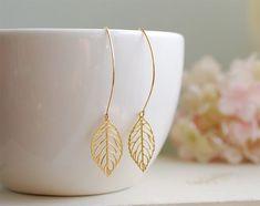 Gold Leaf Earrings. Gold Plated Filigree Leaf Earrings. Long Dangle Leaf Earrings. Modern Everyday Earrings, Gift for Her, Mom, sister on Etsy, $18.00