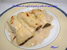 Canelones de confit de pato con salsa de foie