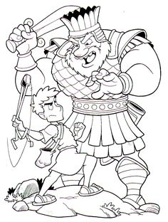 david y Goliat luchando