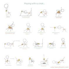 """""""El uso de sillas en la práctica del Yoga fue introducida por el Sr. Iyengar junto con muchos otros instrumentos que inventó y adaptó a lo largo de los años. Aquí hay algunas maneras de usar las sillas en tu práctica. Para mejorar y enriquecer tu práctica de Iyengar Yoga recomiendo este gran libro: """"Una silla para Yoga: una guía completa para la práctica de Iyengar Yoga con silla."""""""