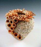 Barnacle vase, wheel thrown with added fingers and corals. Shino and barnacle glaze. also called crater glaze Corals, Fingers, Glaze, Pots, Pottery, Enamel, Ceramica, Pottery Marks, Ceramic Pottery