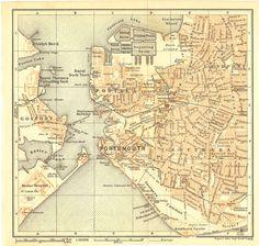 1907 Portsmouth  Original Antique Map