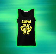 suns out guns out Tank top T shirt T shirt Girl Tank by cicakdarat, $19.99