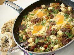 Σαγανάκι με σουτζούκι,αυγά και τυρί Recipe Images, Potato Salad, Potatoes, Ethnic Recipes, Eggs, Food, Potato, Essen, Egg