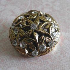 Large Vintage Rhinestone Pierced Goldtone by ButtonsFromTheAttic, $10.00