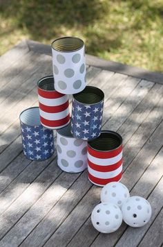 4th of July tin can bowling