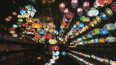 Camden market - lights like giant beads. New years day 2016
