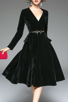 Long Sleeve Velvet Midi Dress