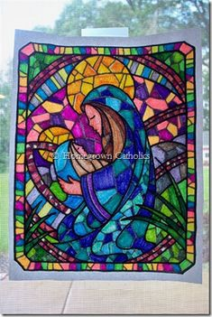 Stained Glass Art and Sun-Catcher Ideas including several printable patterns. @ Homegrown Catholics