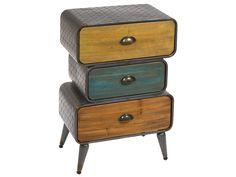 Cajonera+industrial+de+colores.+Un+mueble+auxiliar+con+tres+cajones+de+colores.