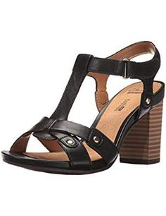 Clarks Women's Banoy Valtina Dress Sandal, Black Leather, 9 M US: Dress up or down in the banoy valtina t-strap sandal. made of beautfiul leathers, this city sandal keeps you comfortable atop a block heel T Strap Sandals, Dress Sandals, Women's Shoes Sandals, Wedge Sandals, Heeled Sandals, Black Sandals, Leather Sandals, Block Heel Shoes, Clarks