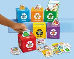 Learn to Recycle! Activity Kit: Kids can learn the importance of recycling with tiles representing items that would be recyclable in everyday life, and depositing them into miniature recycling bins - DIY Recycling Recycling Games, Recycling For Kids, Diy Recycling, Recycling Activities For Kids, Recycling Center, Earth Day Activities, Preschool Activities, Importance Of Recycling, Recycling Information