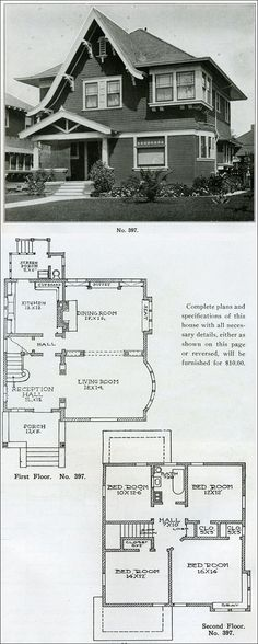 """Design No. 397 FROM """"THE BUNGALOW BOOK"""" BY HENRY WILSON (1910).nThis home, according to Wilson, is """"admirable in many ways."""" It's more eclectic than a narrowly constructed definition allows and incorporates several characteristics that make it an intriquing home. It's relatively large for the period at just over 2000 square feet. The forward catslide gable gives the facade an English cottage flavor and the bell-cast curve of the roof draws from the Queen Anne style. On the interior, and…"""