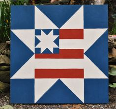 Americana - 2' x 2' Barn Quilt Square Painted Wooden Sign