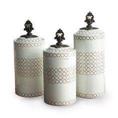 Zestaw 3 słoików ceramicznych w stylu retro WHITE BIALY - Sklep internetowy American Atelier Canisters