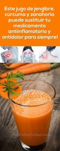 Jugo de jengibre, curcuma y zanahoria sustituye efectivamente los medicamentos antiinflamatorios y antidolor.