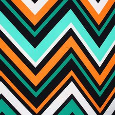 "Multi Color Large Chevron Liverpool Double Knit Fabric - An amazing color combination of kelly green, mint green, orange, and black larger scale multi chevron stripe on a white background Liverpool double knit fabric.  Liverpool, or fukuro, fabric is a thicker medium weight crepe texture knit, with a good stretch, and great recovery.   Fabric has a top side crepe texture and smooth bottom side.  Pattern repeat measures 28"", thickest chevron is 2"".  Amazing fabric great for skirts, dresses…"