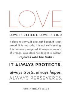 Beau LOVE Is Patient, Love Is Kind . ~ 1 Corinthians This Verse Is Amazing