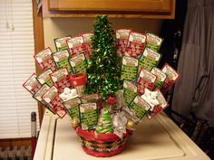Lottery Tickets basket I put together for a benefit for Willie Hughes Dec 9th. Mom is donating the basket but I put it together.