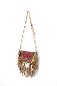 Gold Leather Tassel Cross-Body Bag Bohemian Style Hmong Embroidered Fabric (BG080-GDOST)
