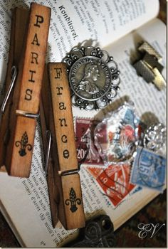 stamping on clothes pins.  Neat idea!