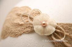 Champagne elastic lace headband with vintage velvet flower and lace, women hair accessories. $24.00, via Etsy.