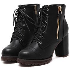 Black Lace Up Zipper Chunky Boots (£25) ❤ liked on Polyvore featuring shoes, boots, heels, sapatos, botas, black, heeled boots, side zipper boots, chunky-heel boots and chunky heel boots
