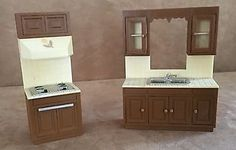 CPG 1982 Kitchen sink oven brown dollhouse furniture vintage c p g room stove