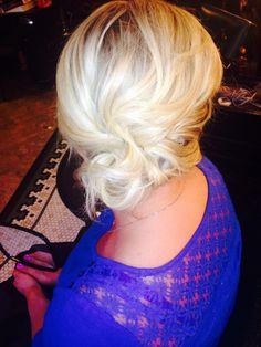 Side swept updo, bridal hair