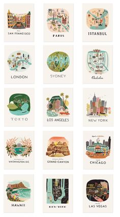 I love, love, love Rifle Paper Co. and am anxiously awaiting the debut of their wallpaper line with Hygge & West – I cannot wait to see what prints they sell! I have about 8 Rifle Paper C… Travel Illustration, Medical Illustration, Flat Illustration, Travel Posters, Travel Nursery, Travel Bedroom, Map Nursery, City Bedroom, Bedroom Decor