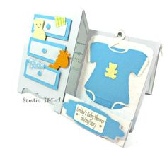 Baby Dresser Invitation- Cute Baby Shower Invitation-Card-A2 size Baby Dresser with teddy bear-giraffe-baby onesie-Personalized text by StudioIdea on Etsy